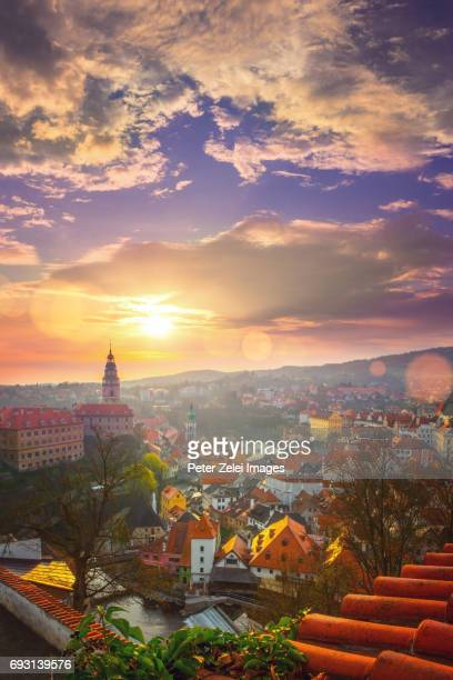 cesky krumlov at sunrise - czech republic - cesky krumlov castle stock photos and pictures