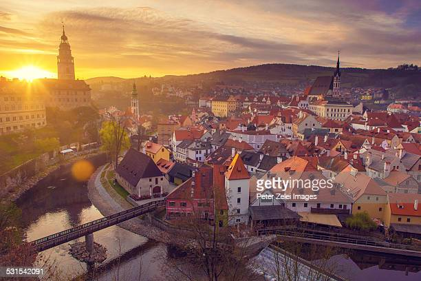 cesky krumlov at sunrise - cesky krumlov castle stock photos and pictures
