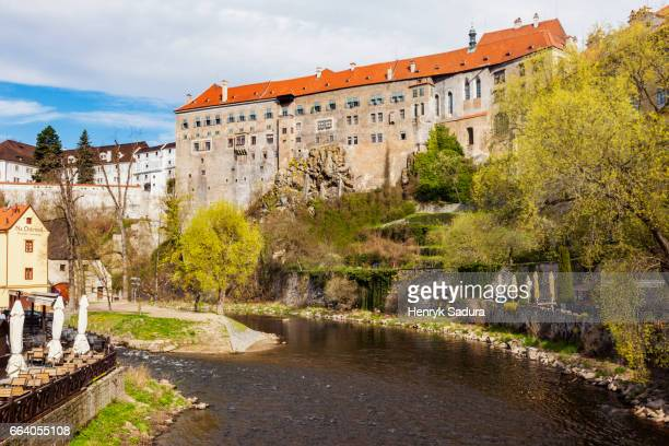 cesky krumlov castle - cesky krumlov castle stock photos and pictures