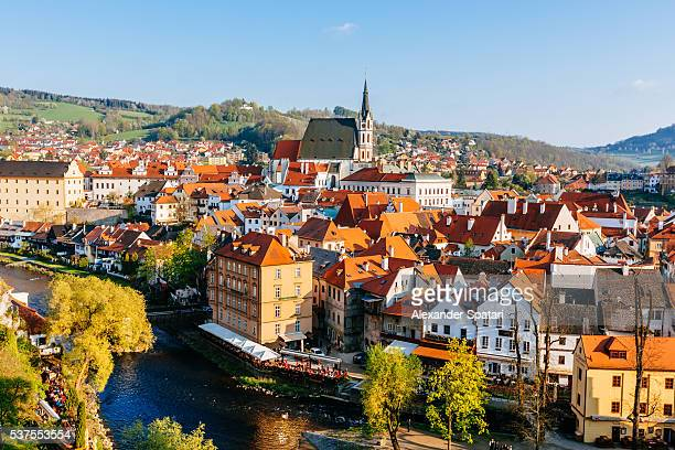 cesky krumlov cityscape on a sunny day, south bohemia, czech republic - cesky krumlov castle stock photos and pictures