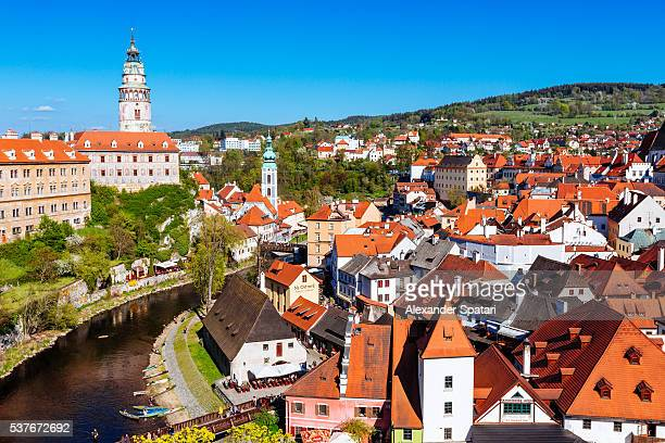 Cesky Krumlov cityscape on a sunny day, South Bohemia, Czech Republic