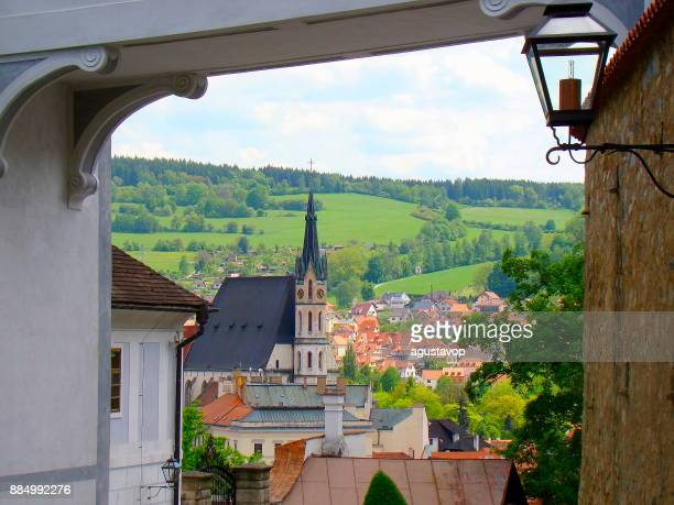 Cesky Krumlov cityscape panorama and old town roof tiles, medieval gothic and baroque city in Bohemia, Czech Republic