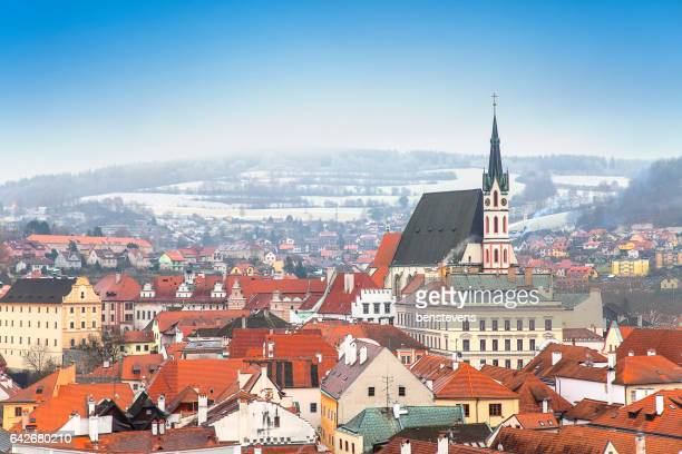 cesky krumlov in winter – prague, czech republic - cesky krumlov castle stock photos and pictures