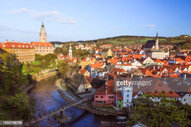 cesky krumlov old town overview - dafos stock photos and pictures