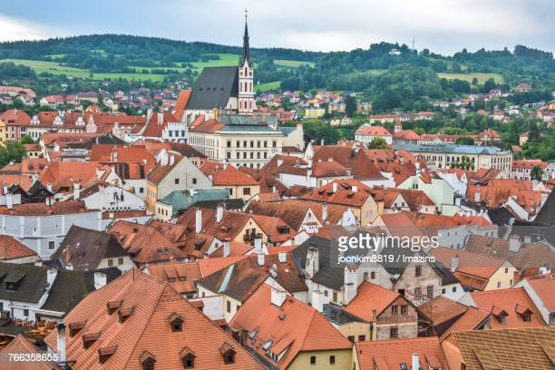 cesky krumlov, st vituss cathedral - cesky krumlov castle stock photos and pictures