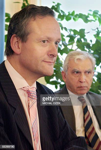 Polish Foreign Minister Adam Daniel Rotfeld and his Czech counterpart Cyril Svoboda address the media 22 July 2005 in Cesky Tesin the Czech part of...