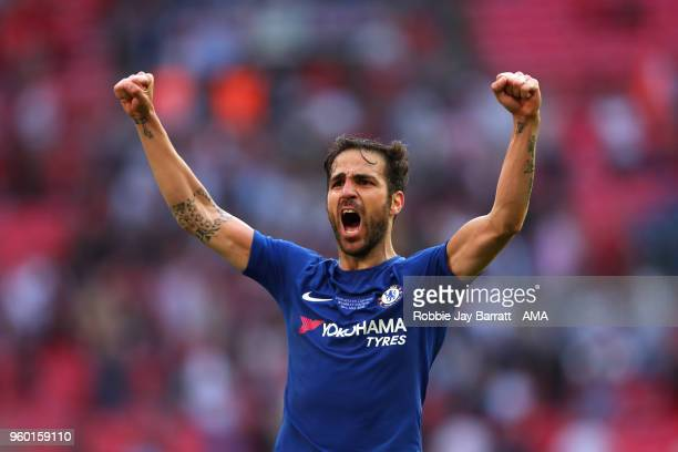 Cess Fabregas of Chelsea celebrates at the end of the Emirates FA Cup Final between Chelsea and Manchester United at Wembley Stadium on May 19 2018...