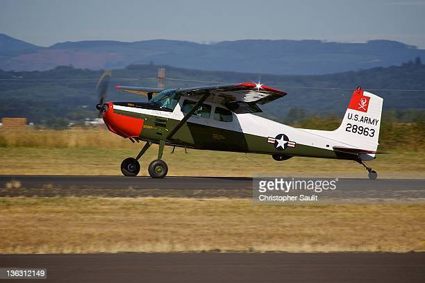 Cessna 172, tailwheel conversion, just after landing at Independence, Oregon.