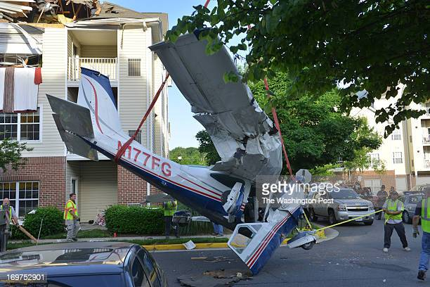 Cessna 177 airplane that crashed into the roof of an apartment building after running out of fuel while flying from Philadelphia is readied to be...