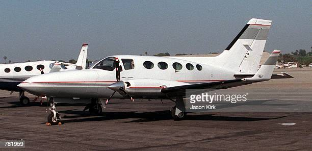 Cessna 414A plane is parked near the runway January 6 2001 in Los Angeles The model of airplane made in the 1970's is similar to the plane Patrick...