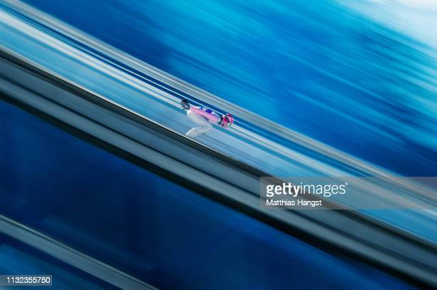 Cestemir Kozisek of Czech Republic competes during the training round of the HS109 men's ski jumping Competition of the FIS Nordic World Ski...
