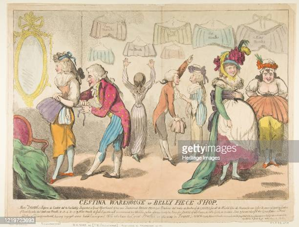 Cestina Warehouse or Belly Piece Shop, April 16, 1793. Possibly after George Moutard Woodward. Artist Attributed to Isaac Cruikshank .