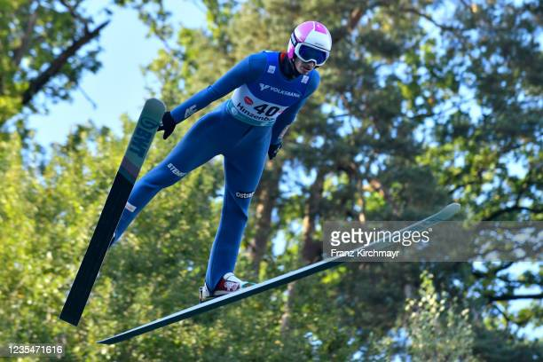 Cestmir Kozisek of Czech Republic competes during the FIS Grand Prix Skijumping Hinzenbach at on February 6, 2021 in Eferding, Austria.