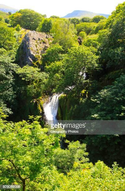 Ceunant Mawr waterfall near Llanberis Snowdonia, north Wales, UK view down to Llanberis.