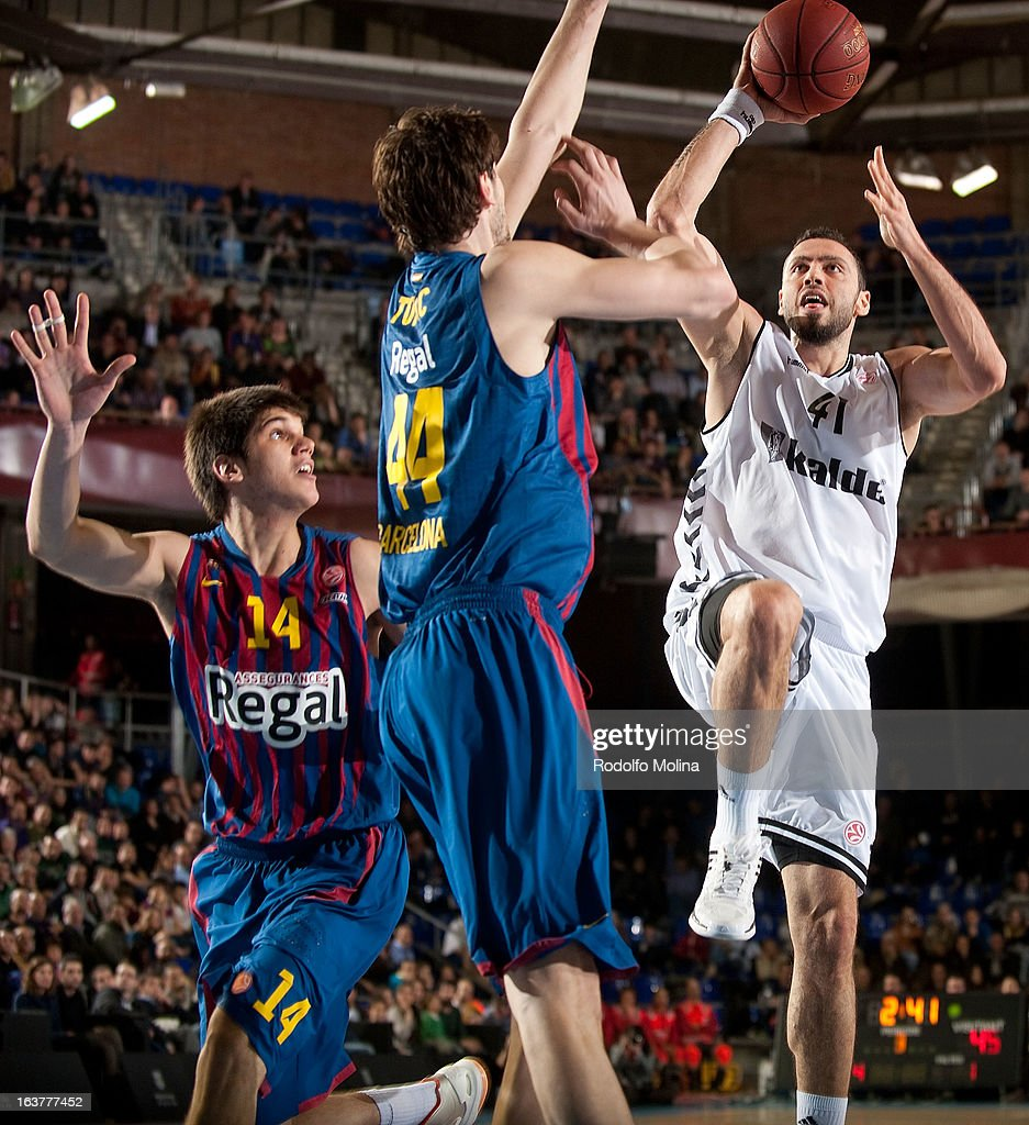 Cevher Ozer, #41 of Besiktas JK Istanbul in action during the 2012-2013 Turkish Airlines Euroleague Top 16 Date 11 between FC Barcelona Regal v Besiktas JK Istanbul at Palau Blaugrana on March 15, 2013 in Barcelona, Spain.