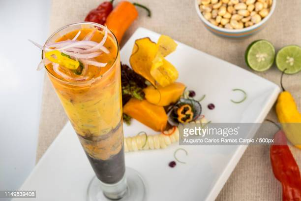 ceviche en vaso - vaso stock pictures, royalty-free photos & images