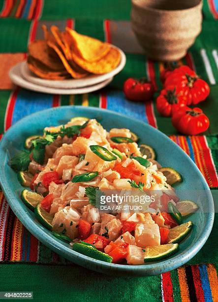 Ceviche raw fish marinated in lime Central and South America
