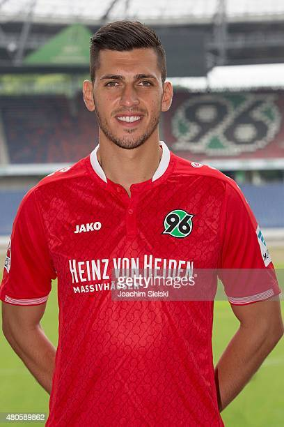 Ceyhun Guelselam poses during the team presentation of Hannover 96 at HDIArena on July 13 2015 in Hanover Germany