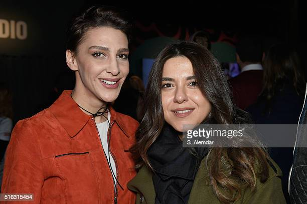 Ceylan Atinc and Hande Tokmak are seen during the MercedesBenz Fashion Week Istanbul Autumn/Winter 2016 at Zorlu Center on March 18 2016 in Istanbul...