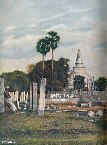 Ceylon. Built by King Tissa about 307 B.C. To contain the collar-bone of Buddha, the Thuparama is one of the eight sacred places at Anuradhapura. The...
