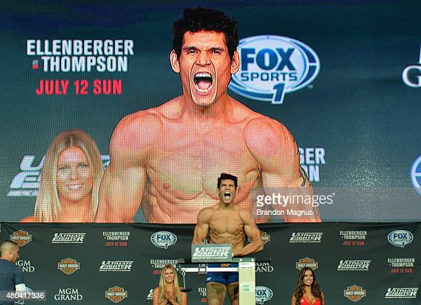 Cezar Ferreira steps onto the scale during the TUF 21 Finale Weighin at the UFC Fan Expo in the Sands Expo and Convention Center on July 11 2015 in...