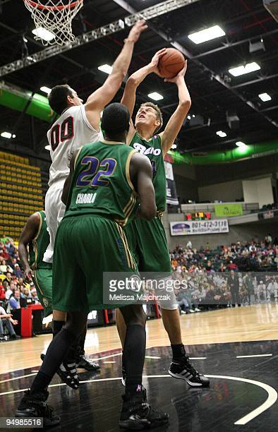 Cezary Trybanski of the Reno Bighorns puts up a shot against the Utah Flash during the D-League game on December 11, 2009 at the McKay Events Center...