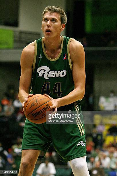 Cezary Trybanski of the Reno Bighorns shoots a free throw during the D-League game against the Utah Flash on December 11, 2009 at the McKay Events...
