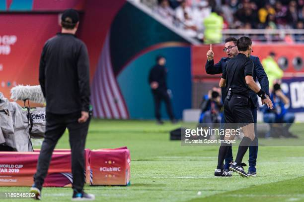 Cf Monterrey Head Coach Antonio Mohamed argues with Liverpool Head Coach Juergen Klopp during FIFA Club World Cup SemiFinal match between Monterrey...