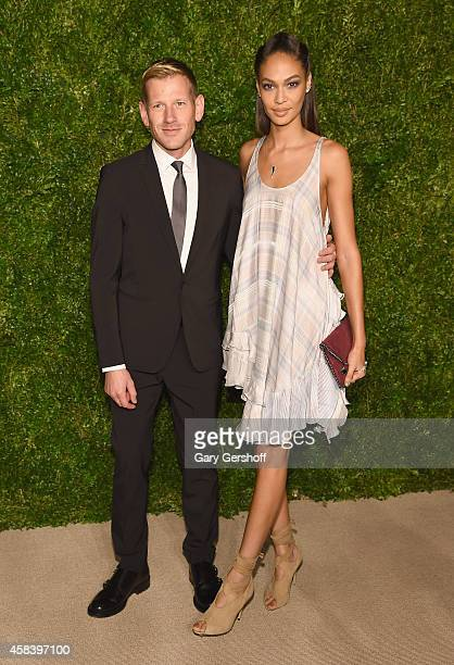 Vogue Fashion Fund winner designer Paul Andrew and model Joan Smalls attend The 11th Annual CFDA/Vogue Fashion Fund Awards at Spring Studios on...