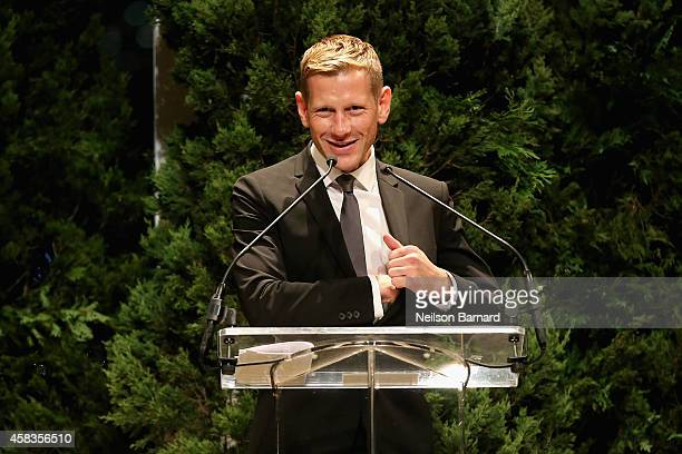 Vogue Fashion Fund winner designer Paul Andrew speaks onstage at the 11th annual CFDA/Vogue Fashion Fund Awards at Spring Studios on November 3 2014...