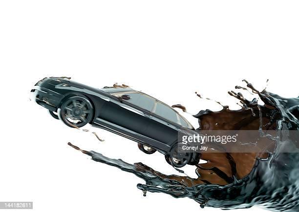 CGi car emerging from crude oil vortex