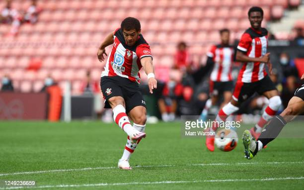 Ché Adams of Southampton during a friendly match between Southampton FC and Bristol City ahead of the Premier League restart at St Mary's Stadium on...