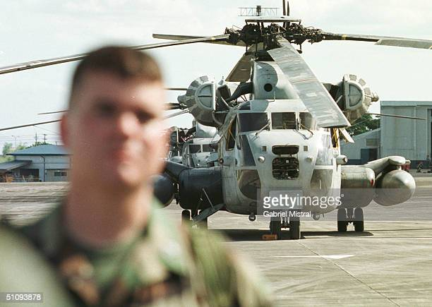 S Ch53 Delta Helicopter Sits On The Tarmac April 23 2002 At The Philippine Air Force Base In Clark In Angeles City In The Philippines US Troops Will...