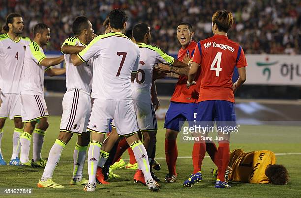 Cha Duri of South Korea argue with Nicolas Fedor of Venezuela during the international friendly match between South Korea and Venezuela at Bucheon...