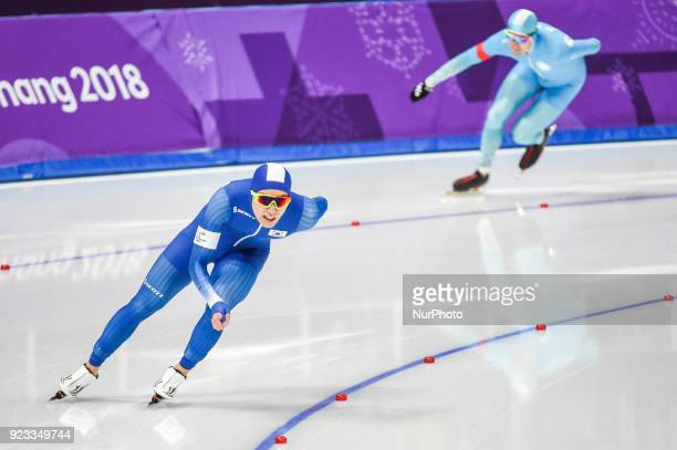 Cha Min Kyu of South Korea and Fedor Mezentsev of Kazakhstan in 1000 meter speedskating at winter olympics Gangneung South Korea on February 23 2018