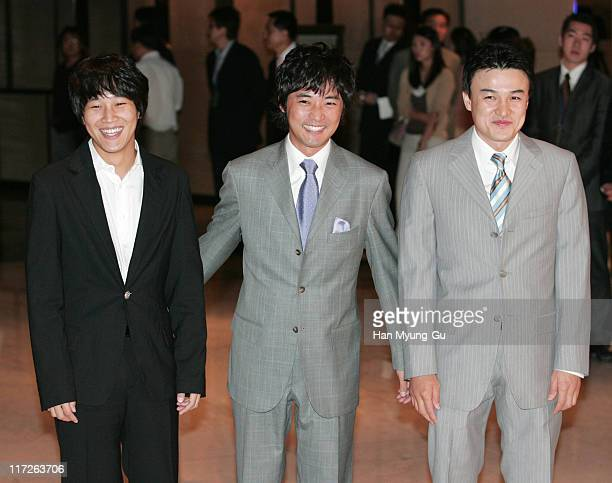 Cha TaeHyun and An JaeWook and Park JungHun during Kim SeungWoo and Kim NamJu Wedding May 25 2005 at W Seoul Walkerhill Vister Hall in Seoul South...