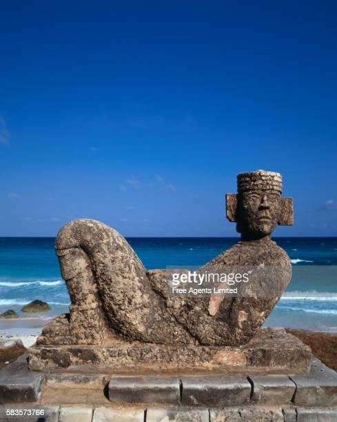 Chac Mool Sculpture at Beach