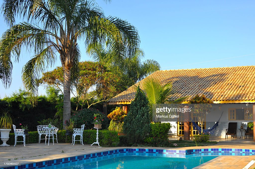 Chacara country house with pool : Stock Photo