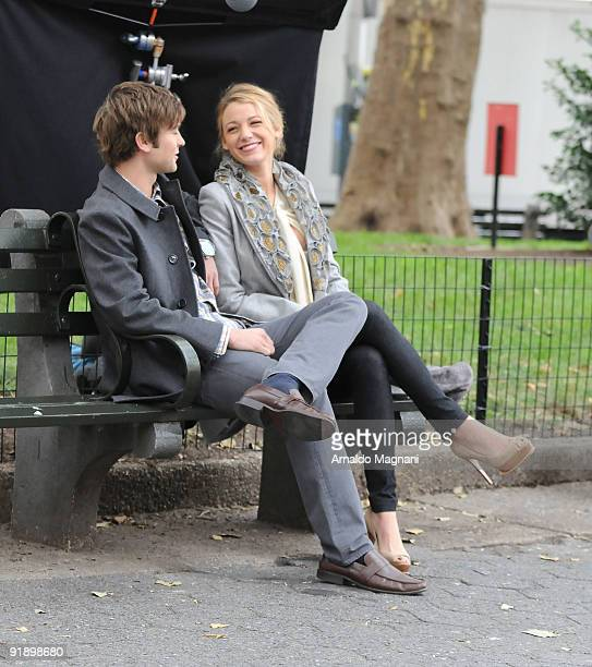 Chace Crawford and Blake Lively are seen on location for the filming of ''Gossip Girl'' on October 14 2009 in New York City