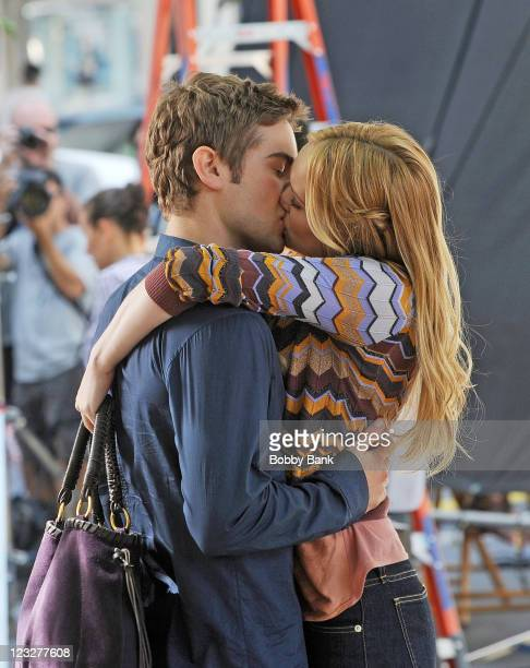 Chace Crawford and Kaylee DeFer filming on location for Gossip Girl on September 1 2011 on the streets of Manhattan in New York City
