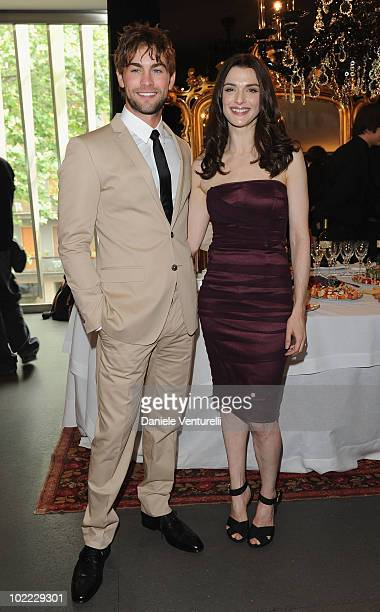 Chace Crawford and Rachel Weisz attend the Dolce Gabbana VIP Room prior to the Dolce Gabbana Milan Menswear Spring/Summer 2011 show on June 19 2010...