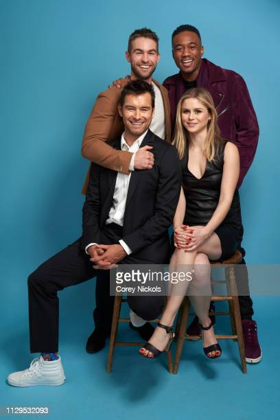 Chace Crawford Jessie Usher and Antony Starr and Erin Moriarty of Amazon Prime Video's 'The Boys' pose for a portrait at The Langham Huntington...