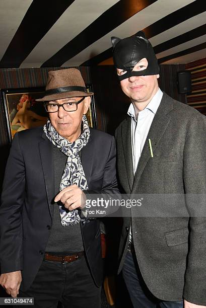 Chacha Club owner Hamoudi and Louis de Causans attend the 'Nuit Bruce Nauman' screening party and performance of Amelie Pironneau at la Galerie du...