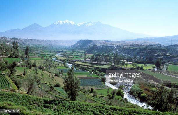 Chachani Mountain, River Chili and valley, near Arequipa, Peru