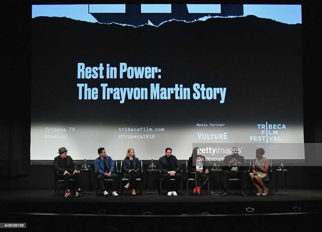 Chachi Senior,Mike Gasparro, Julia Willoughby, Jenner Furst, Sybrina Fulton, Tracy Martin and Joy Reid speak at the 'Rest In Power: The Trayvon Martin Story' premiere during the 2018 Tribeca Film Festival at BMCC Tribeca PAC on April 20, 2018 in New York City.