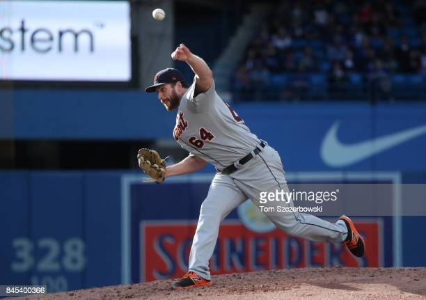Chad Bell of the Detroit Tigers delivers a pitch in the fourth inning during MLB game action against the Toronto Blue Jays at Rogers Centre on...