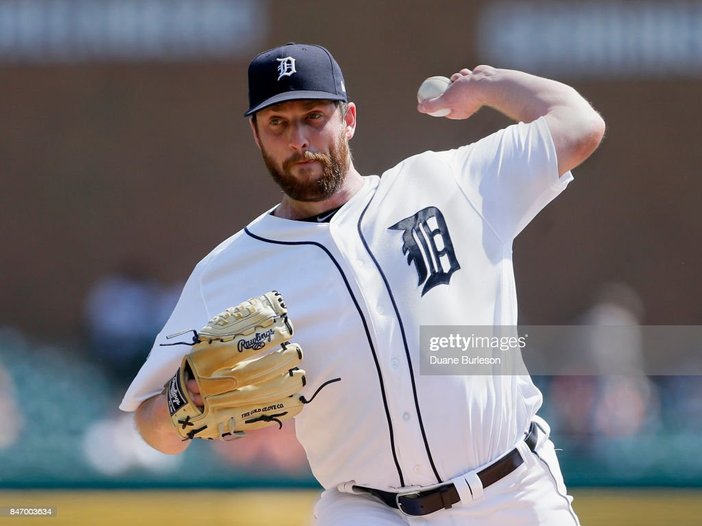 Chad Bell #64 of the Detroit Tigers pitches against the Chicago White Sox during the second inning at Comerica Park on September 14, 2017 in Detroit, Michigan.