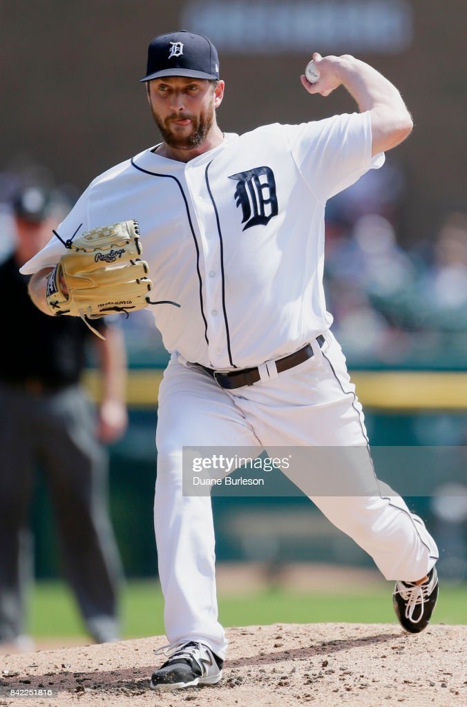 Chad Bell #64 of the Detroit Tigers pitches against the Cleveland Indians during the third inning at Comerica Park on September 3, 2017 in Detroit, Michigan.