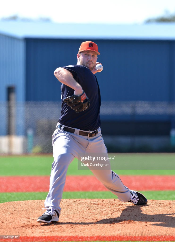 Chad Bell #64 of the Detroit Tigers pitches during Spring Training workouts at the TigerTown facility on February 20, 2017 in Lakeland, Florida.