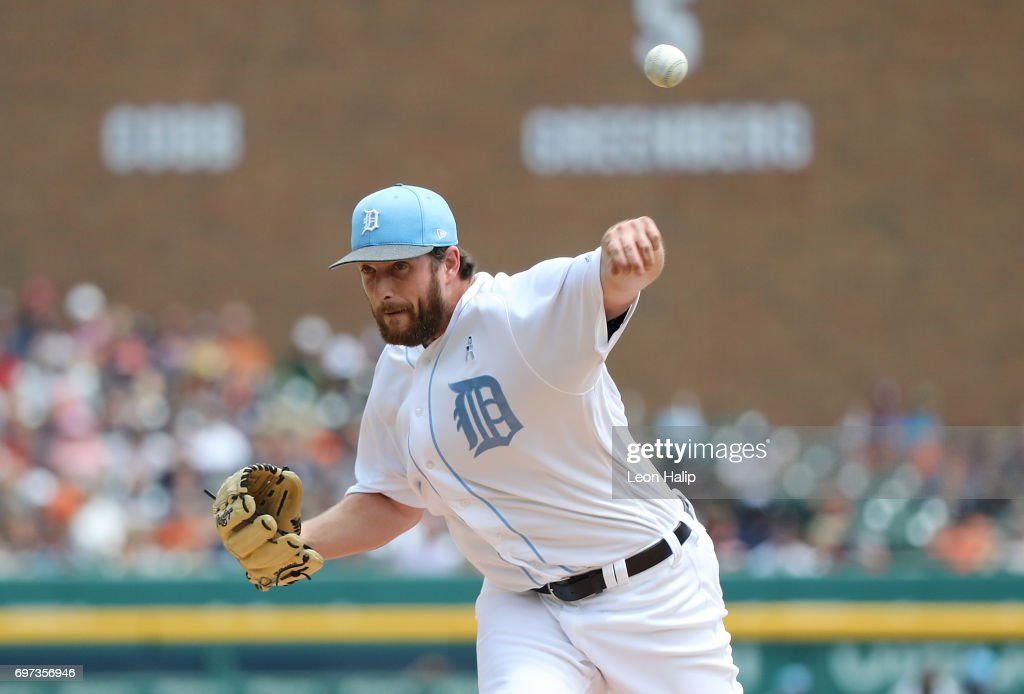 Chad Bell #64 of the Detroit Tigers pitches during the fourth inning of the game against the Tampa Bay Rays on June 18, 2017 at Comerica Park in Detroit, Michigan.